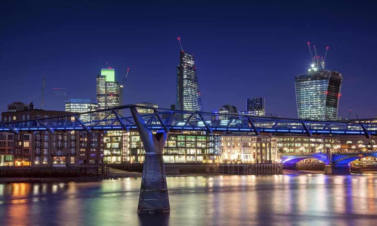 London city night skyline landscape with glowing city lights