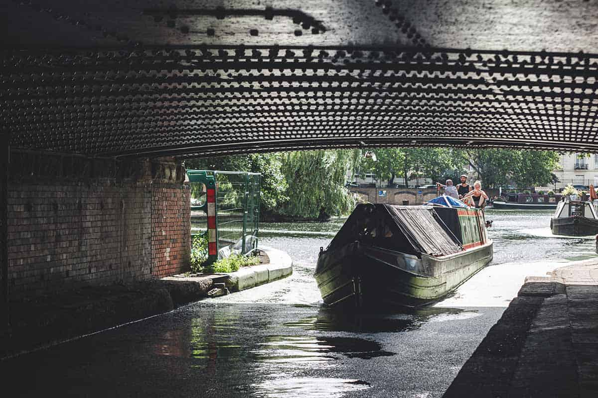 Narrowboat navigating in Regents Canal, Little Venice, London