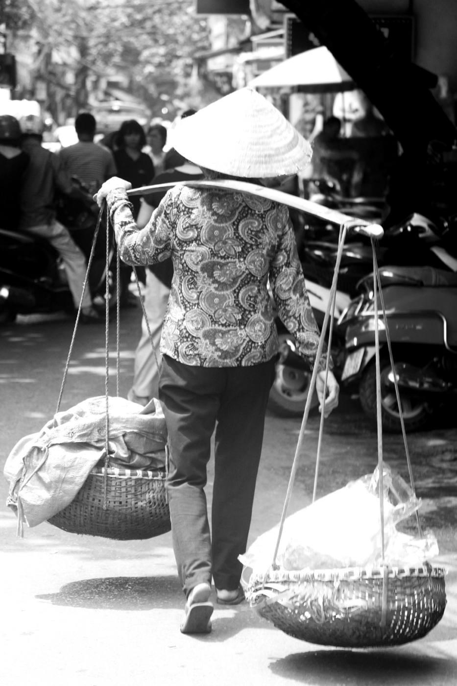Hanoi Vietnam basket woman