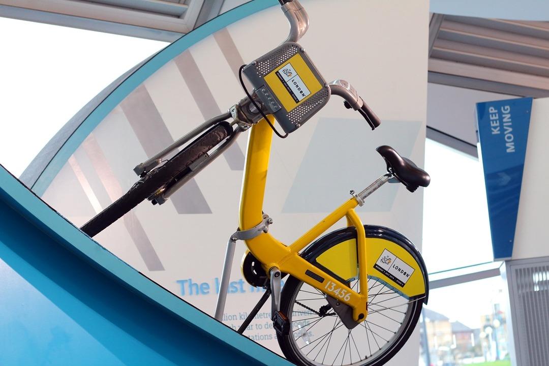 the crystal london yellow bike