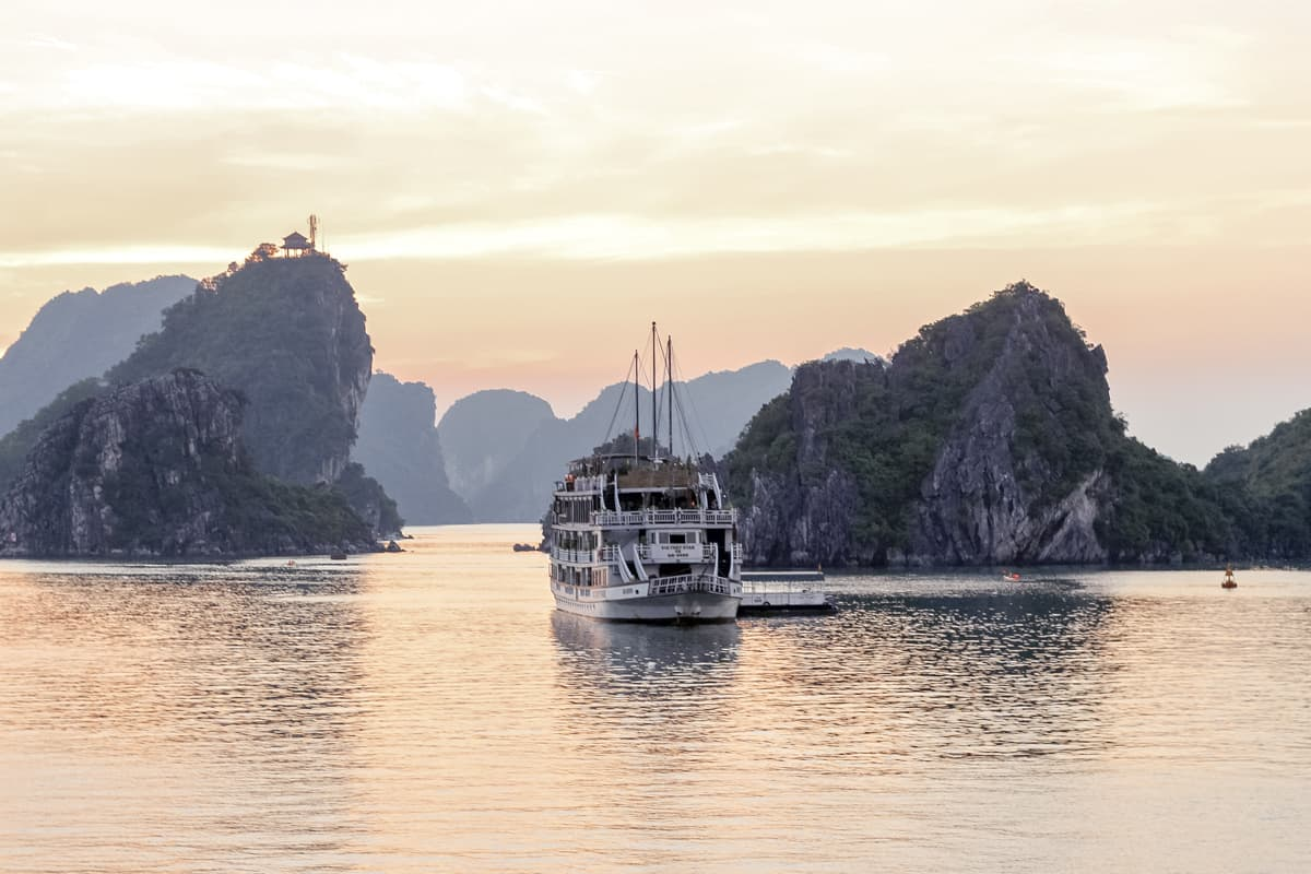 Sunset at Halong Bay in Vietnam
