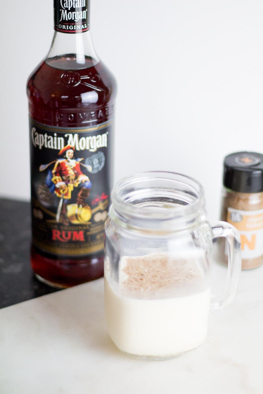 Captain Morgan easy eggnog cocktail
