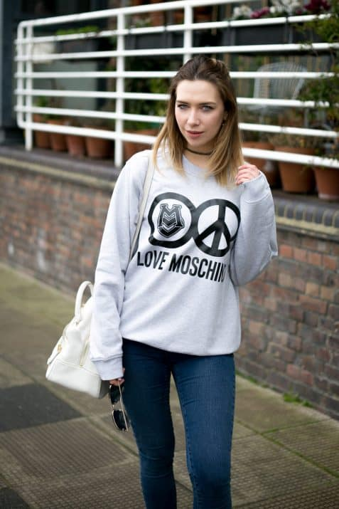 Grey Love Moschino jumper outfit