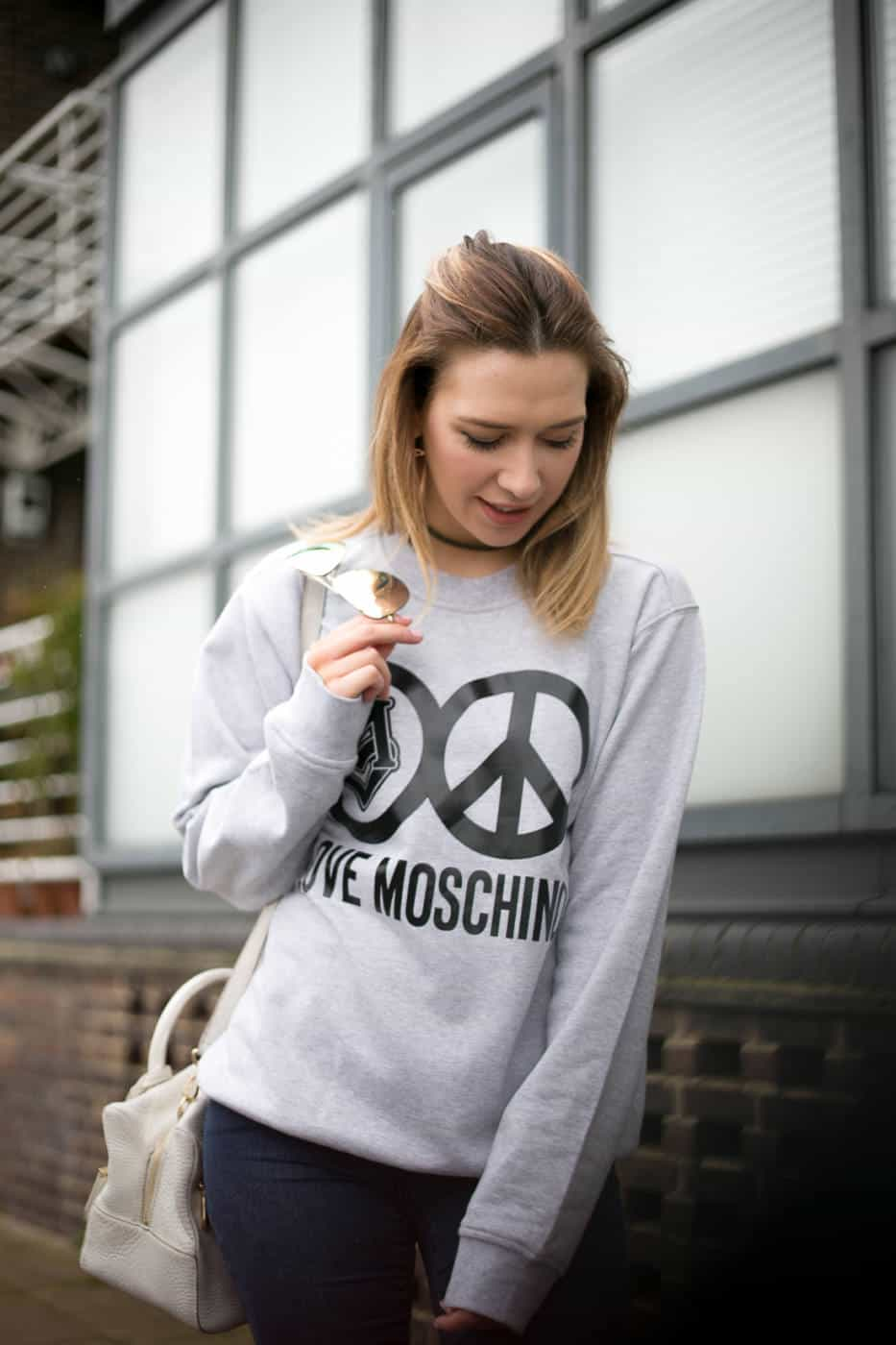 Grey Love Moschino jumper outfit_