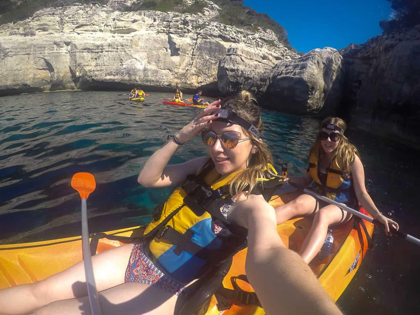 Kayaking in dragon cave menorca