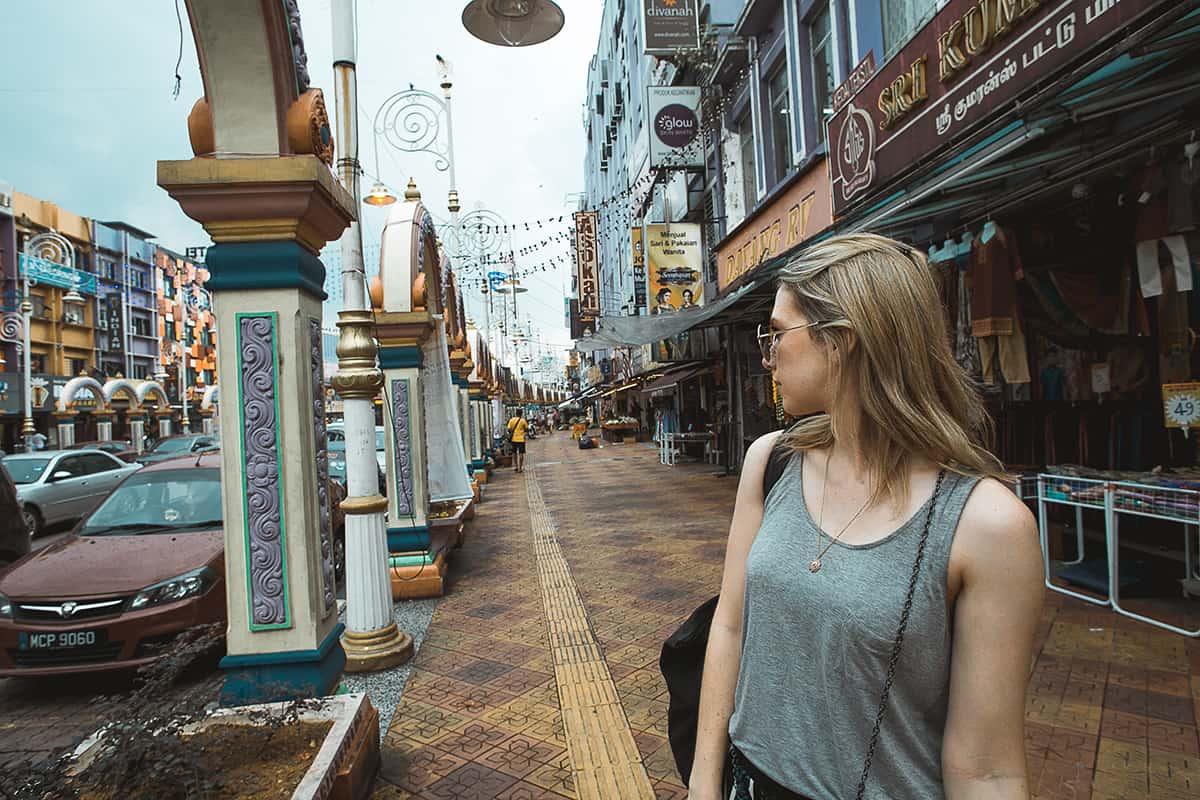 A colourful street in Brickfields (aka Little India) in Kuala Lumpur Malaysia