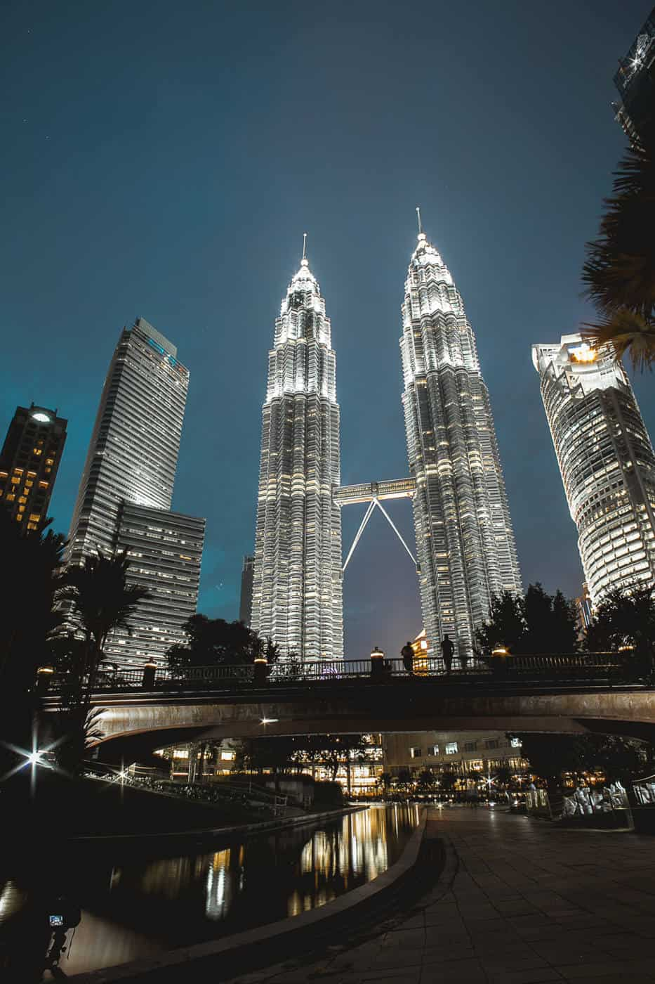 The Petronas Towers in Kuala Lumpur Malaysia at blue hour