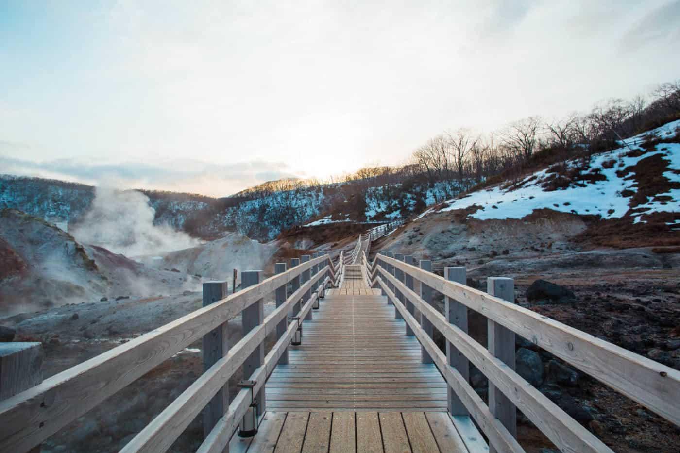 A boardwalk in Jigokudani during winter in Hokkaido Japan