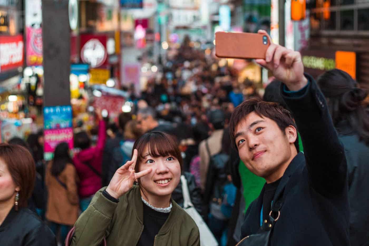 Mobile photo in Harajuku Japan