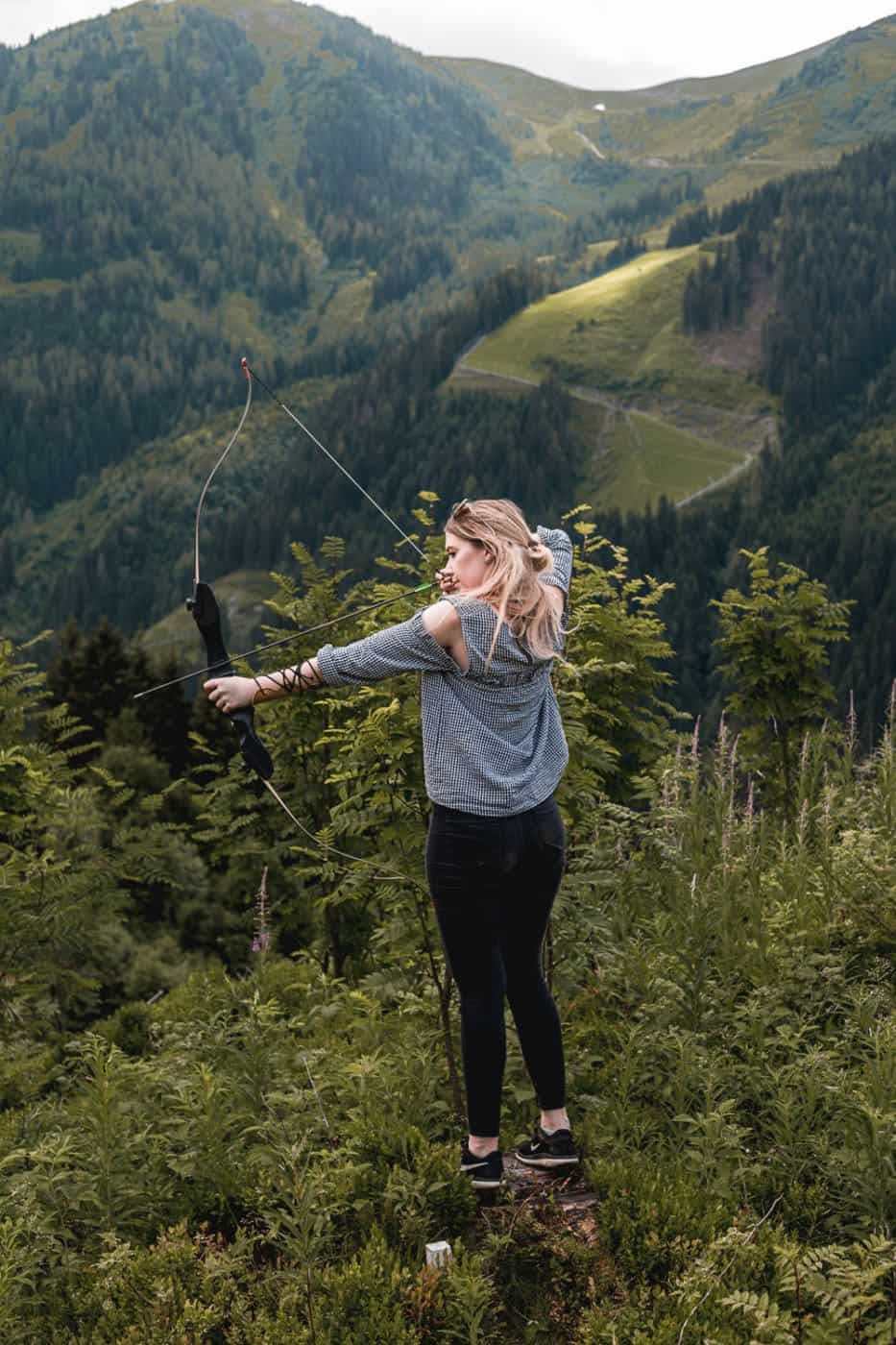 Archery and lunch at Sonnhof hotel during summer in Saalbach Austria