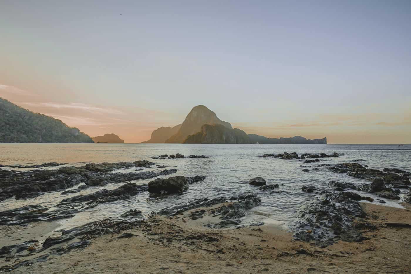 Palawan Philippines El Nido beach sunset
