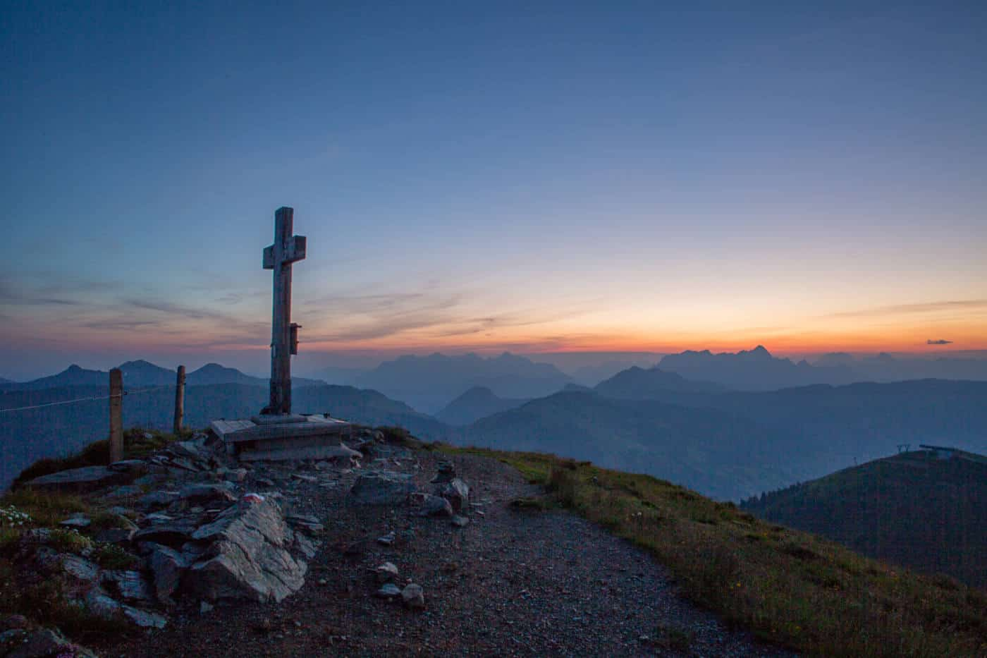 Sunrise hike in in Saalbach Hinterglemm Austria