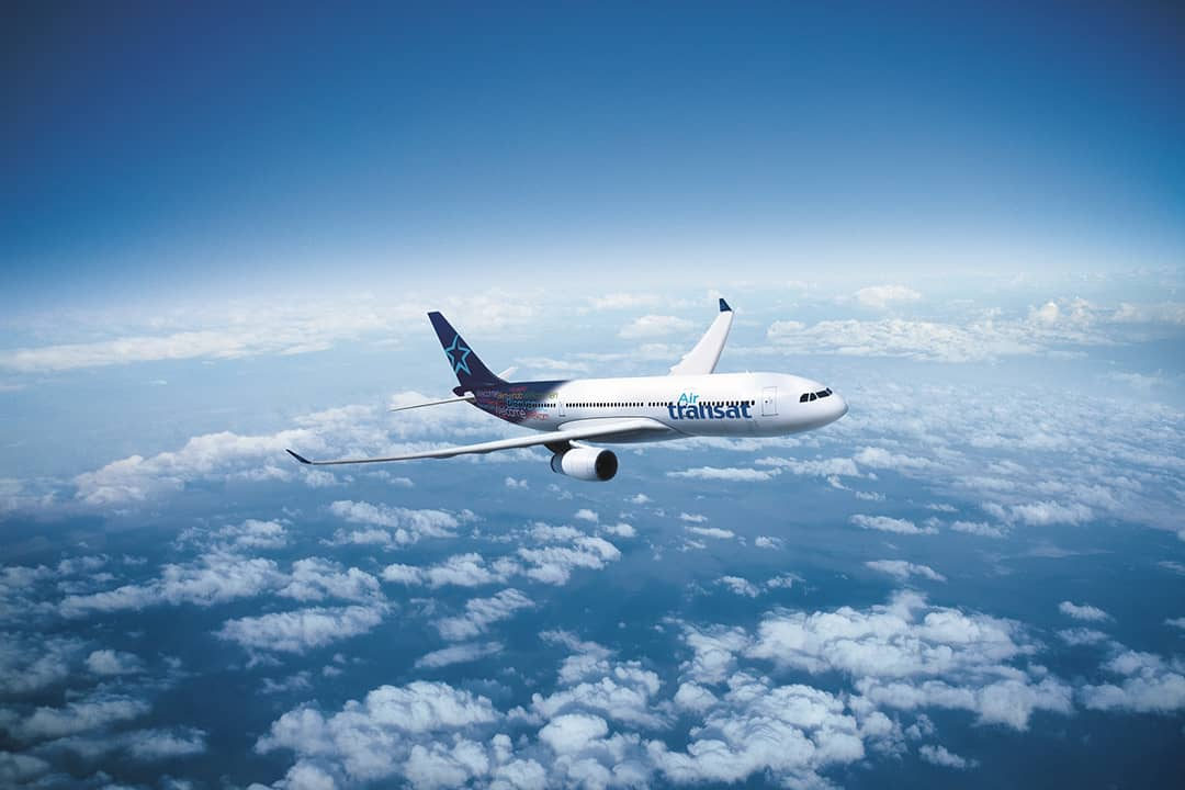 Air transat plane in the sky