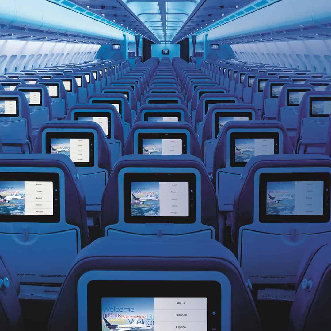 Economy class seats on a plane