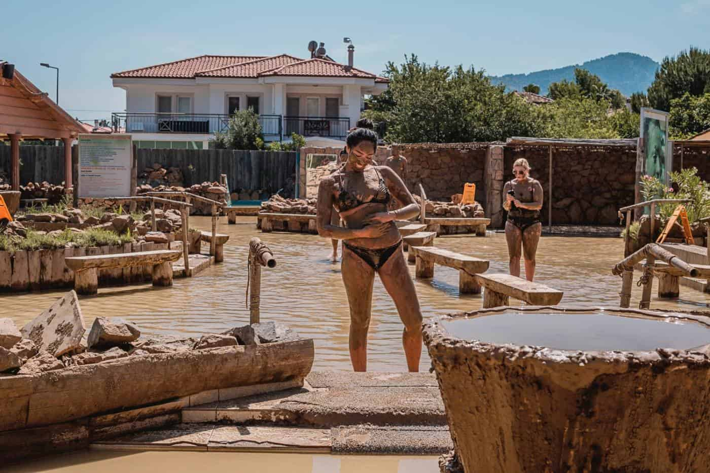 Turkish Mud Bath in Dalyan Marmaris Turkey