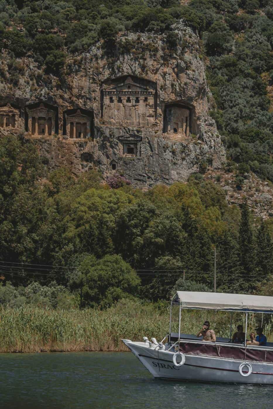 Caves in Dalyan River in Marmaris Turkey