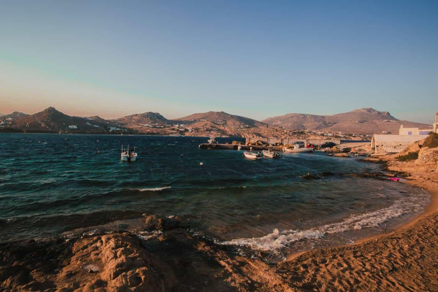 Mykonos beach on greek island hopping itinerary