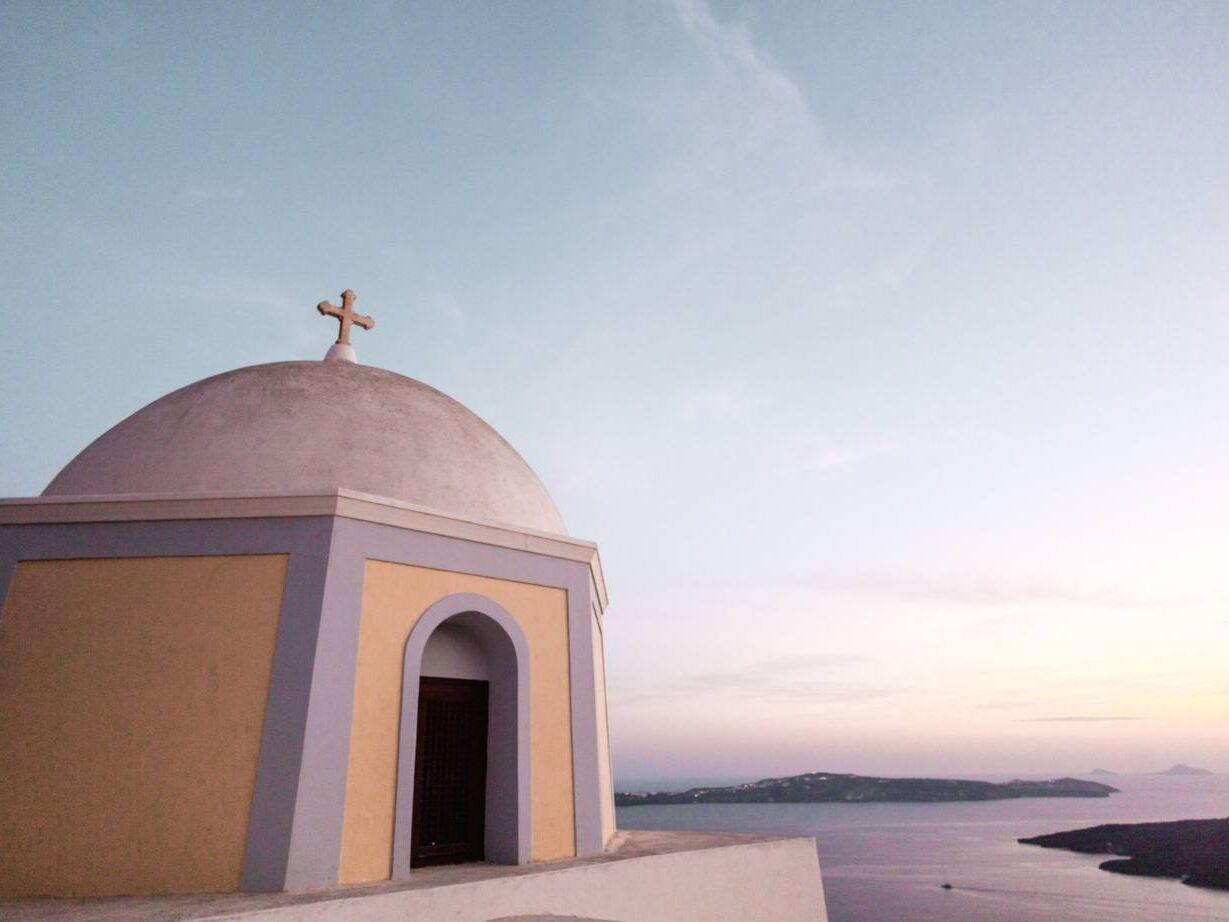 Santorini sunset Greek island hopping