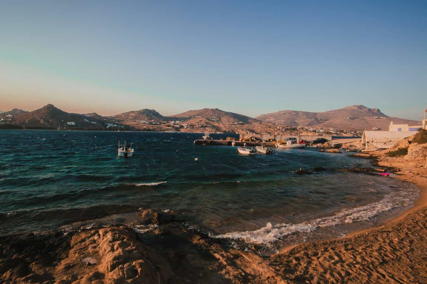 Mykonos beach on greek island hopping itinerary