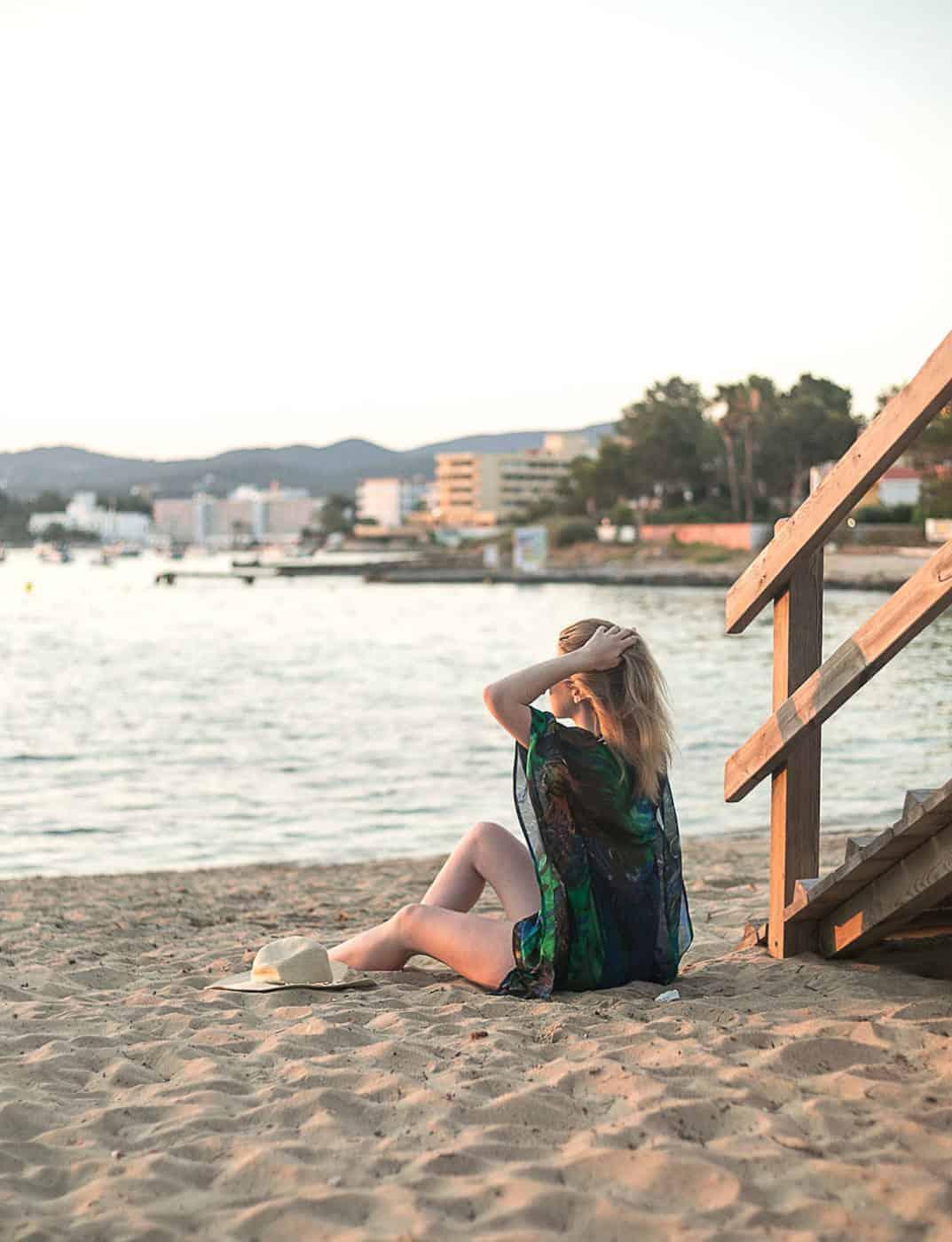 Woman in beach wear in Ibiza