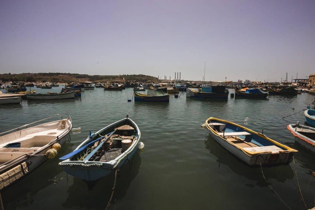 Malta fishing boats in Marsaxlokk