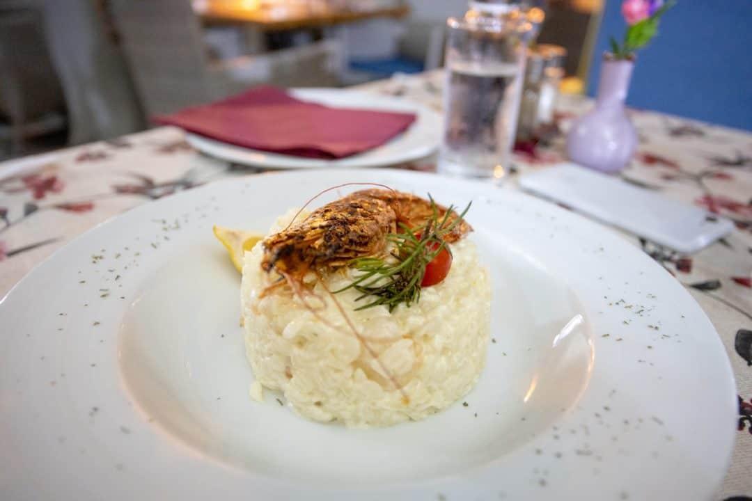 Shrimp risotto at Scorpio restaurant in Kotor Montenegro