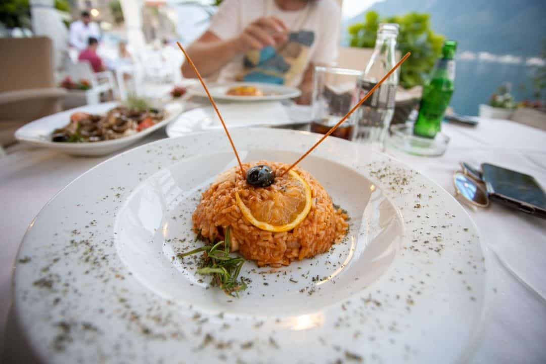 Seafood risotto at Admiral restaurant in Perast, Kotor Montenegro