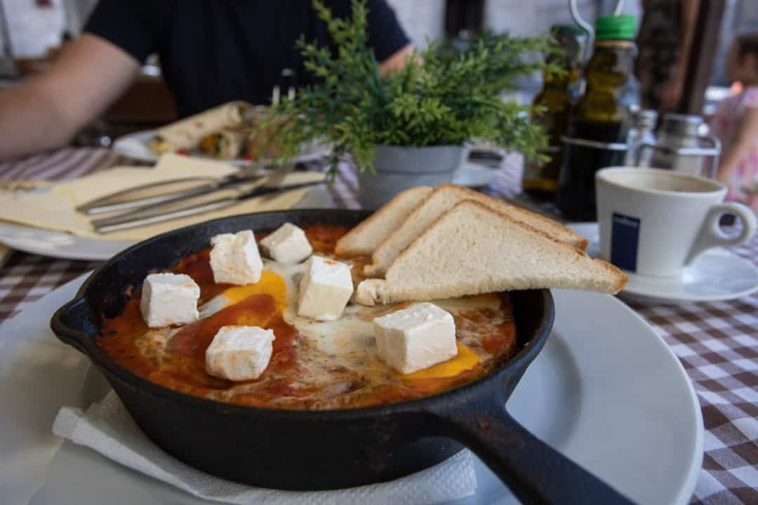 Shakshuka breakfast at Pescaria Dekaderon restaurant in Kotor Montenegro