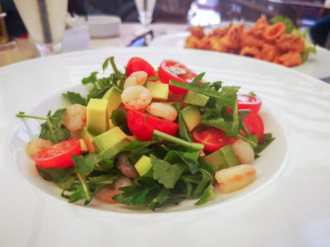Shrimp salad at Hotel Vardar restaurant in Kotor Montenegro