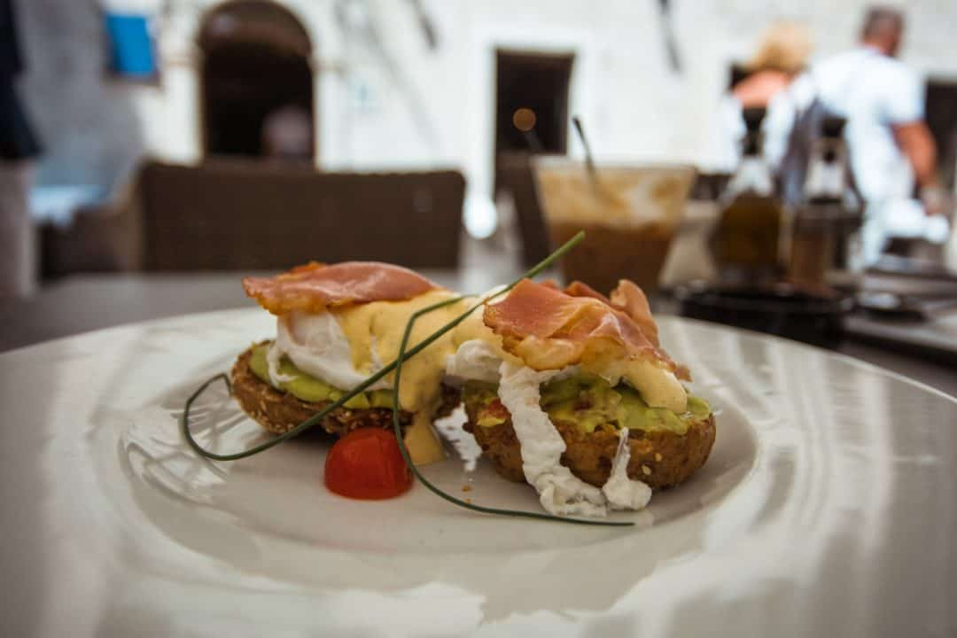 Eggs royale breakfast at Astoria restaurant in Kotor Montenegro