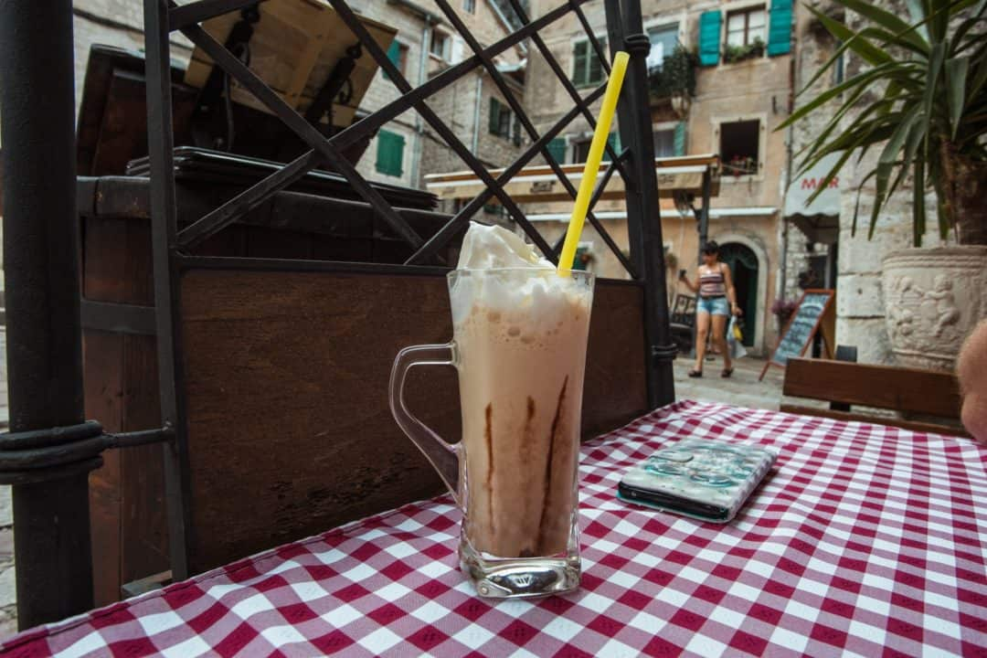 Iced coffee at Konoba Roma restaurant in Kotor Montenegro