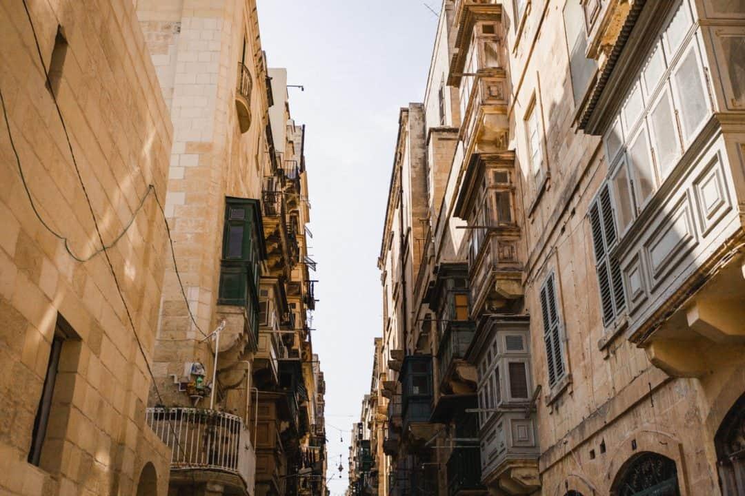 Maltese balconies in Valletta Malta