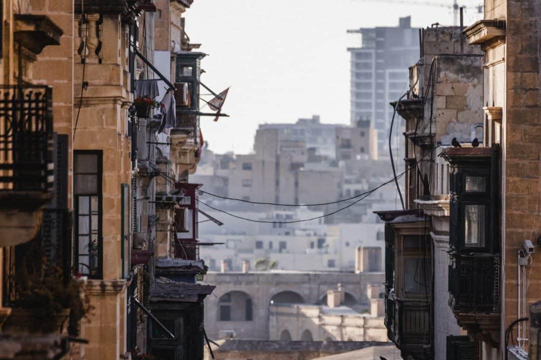 Valletta streets leading to the beach in Malta