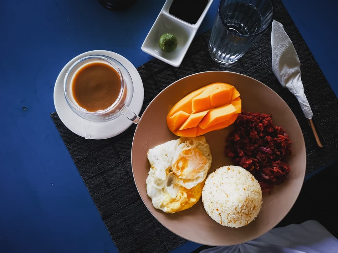 Filipino breakfast at Reef Beach Resort in Siargao Philippines