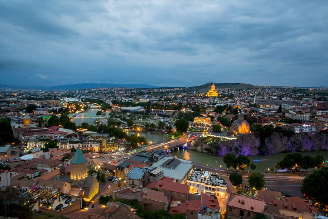 Tbilisi skyline at night