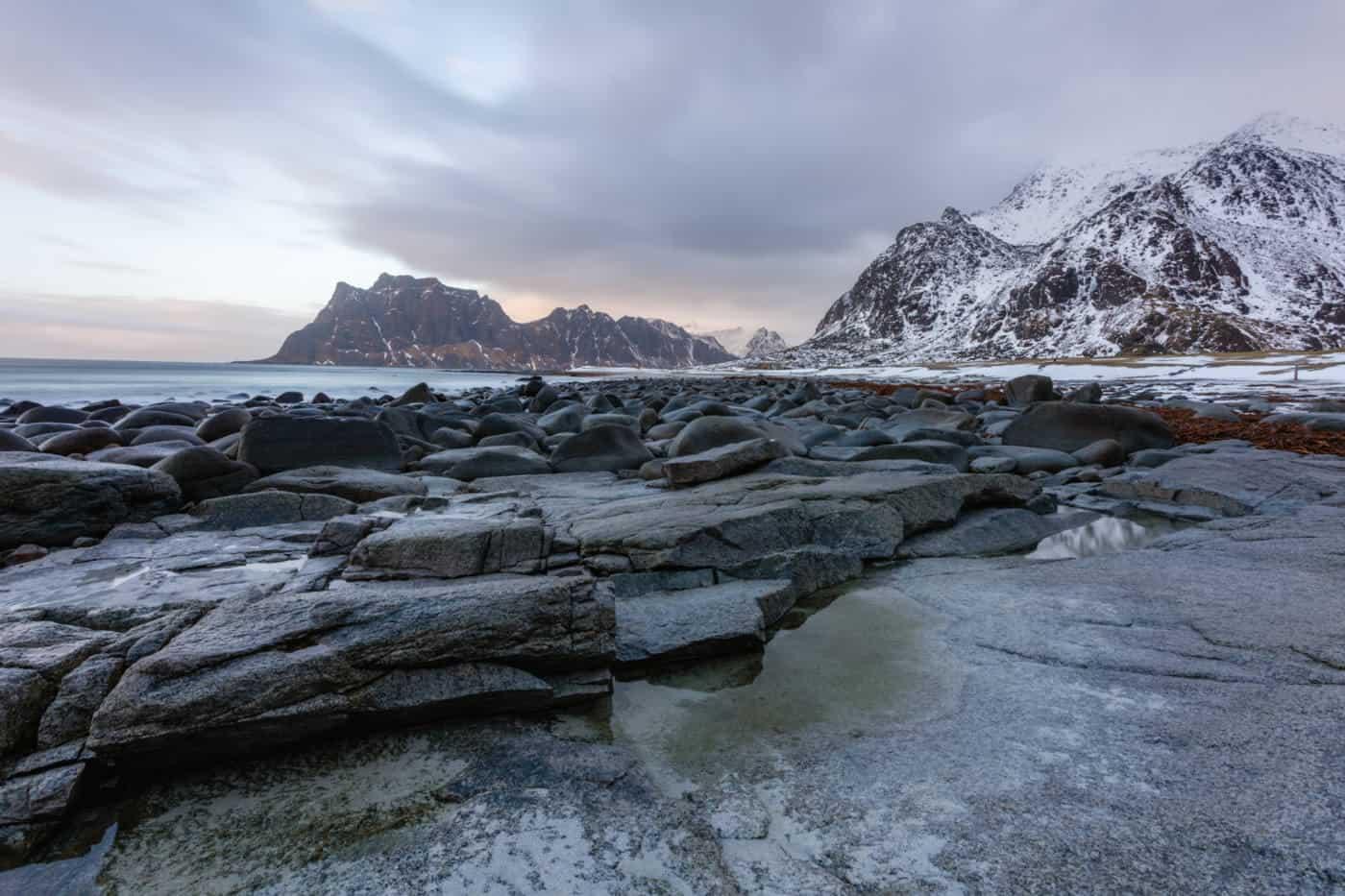 Uttakliev Beach on Lofoten Islands during the daytime