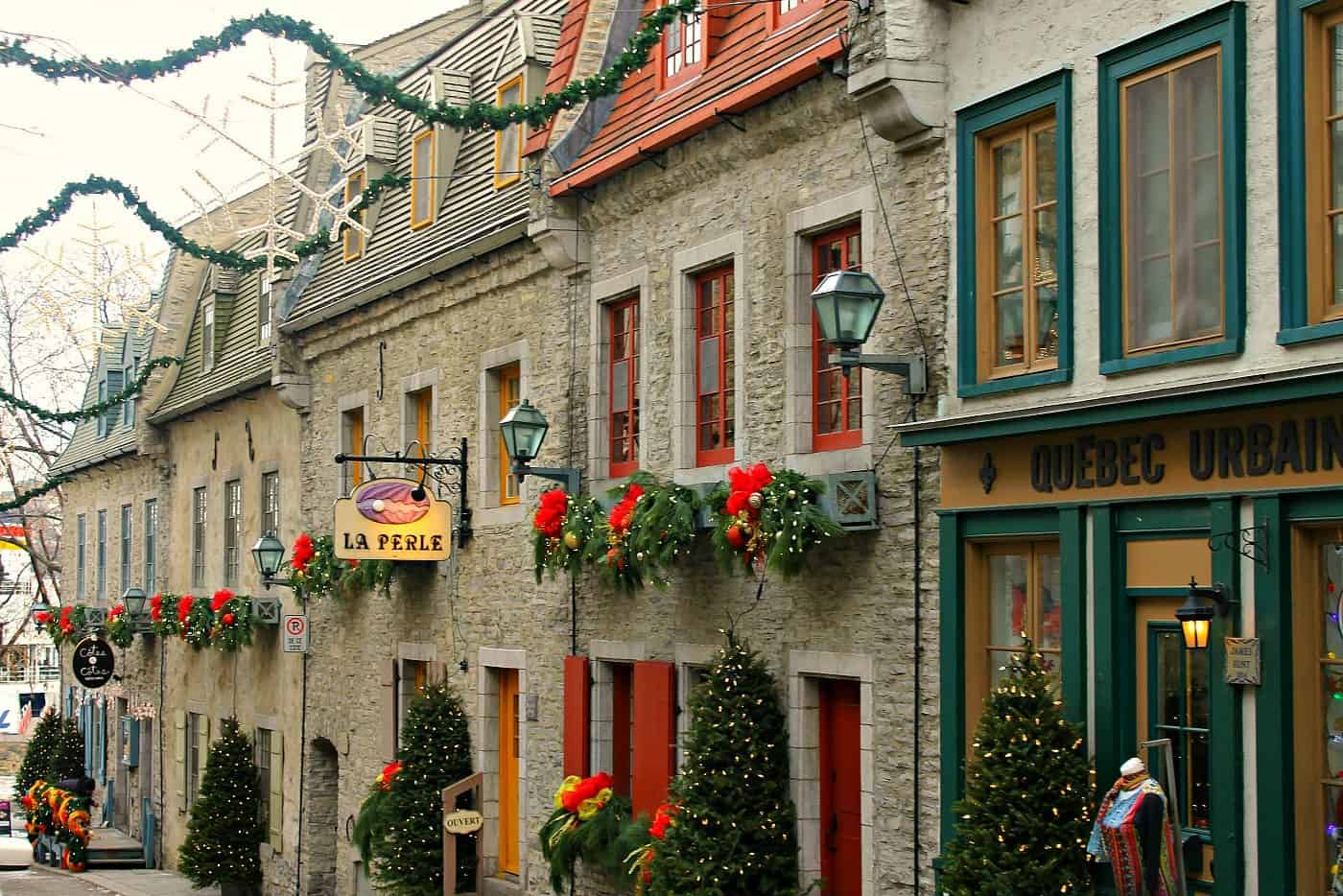 Houses with Christmas decorations in Quebec City
