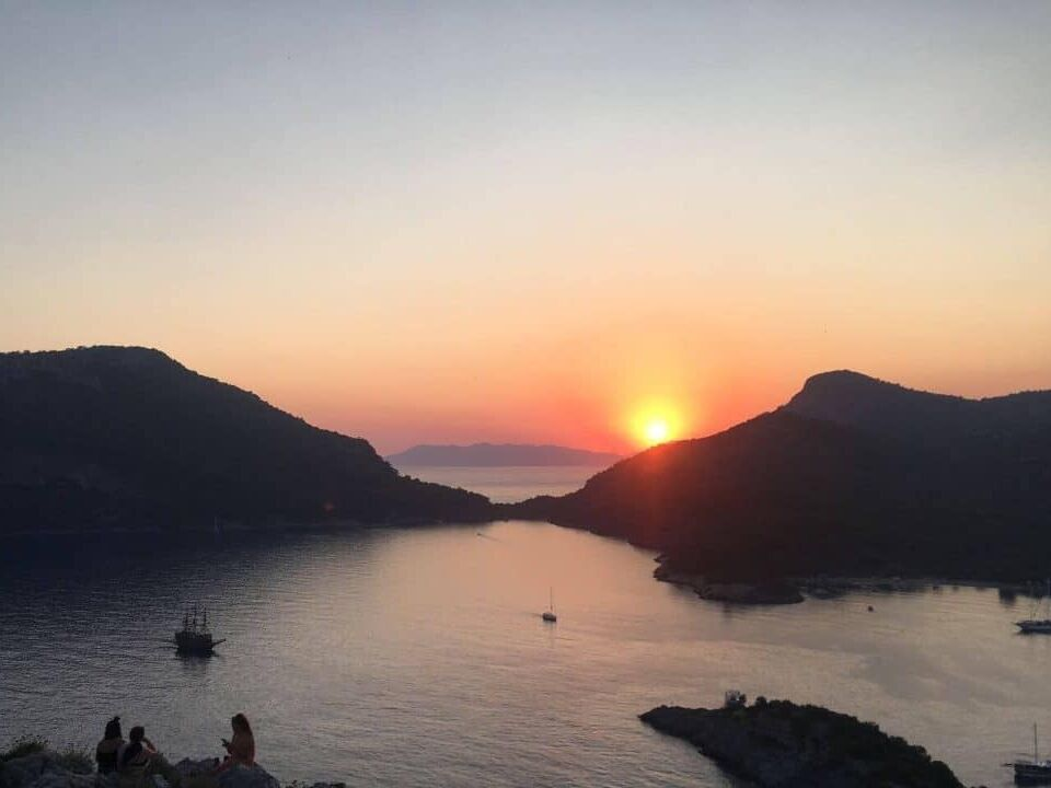 Sunset at St Nicholas Island on a gulet cruise