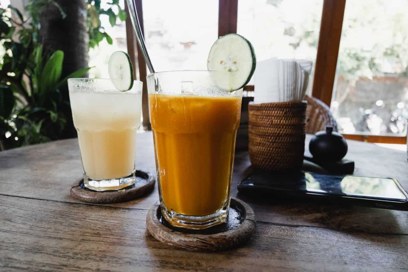 Kombucha and juice at Vespa Cafe in Ubud Bali-2