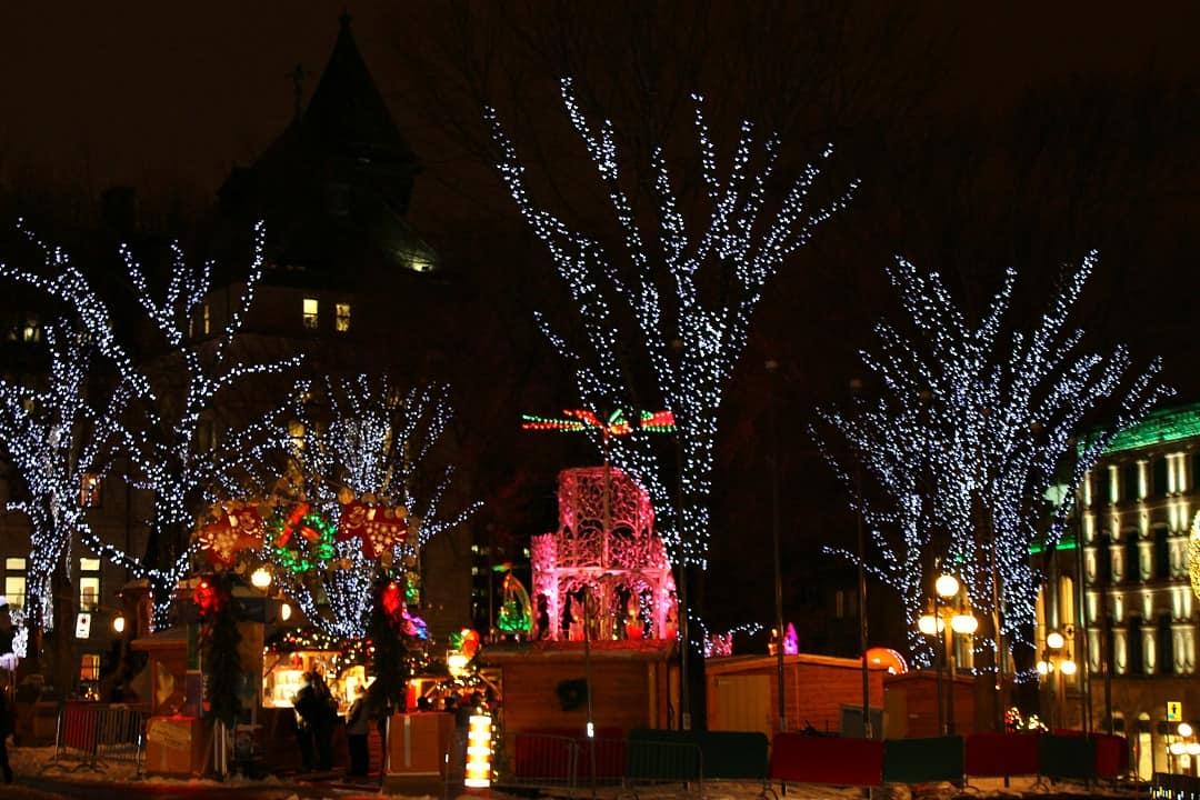 Christmas lights in Quebec City in December