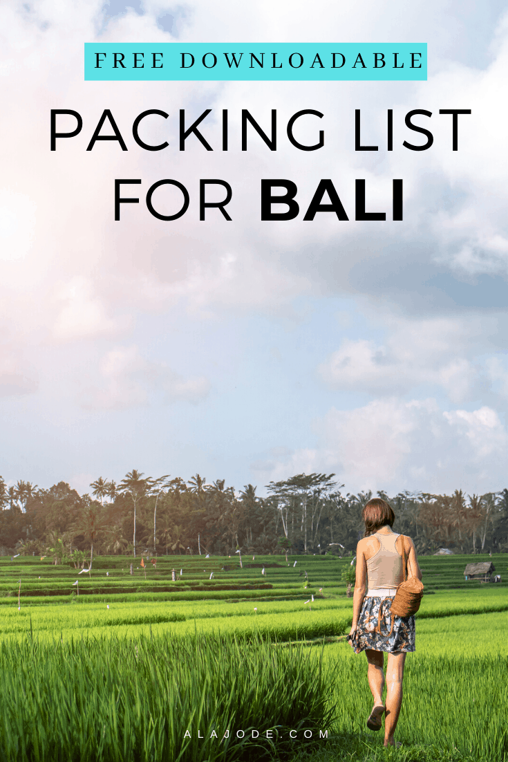 FREE DOWNLOADABLE PACKING LIST FOR BALI