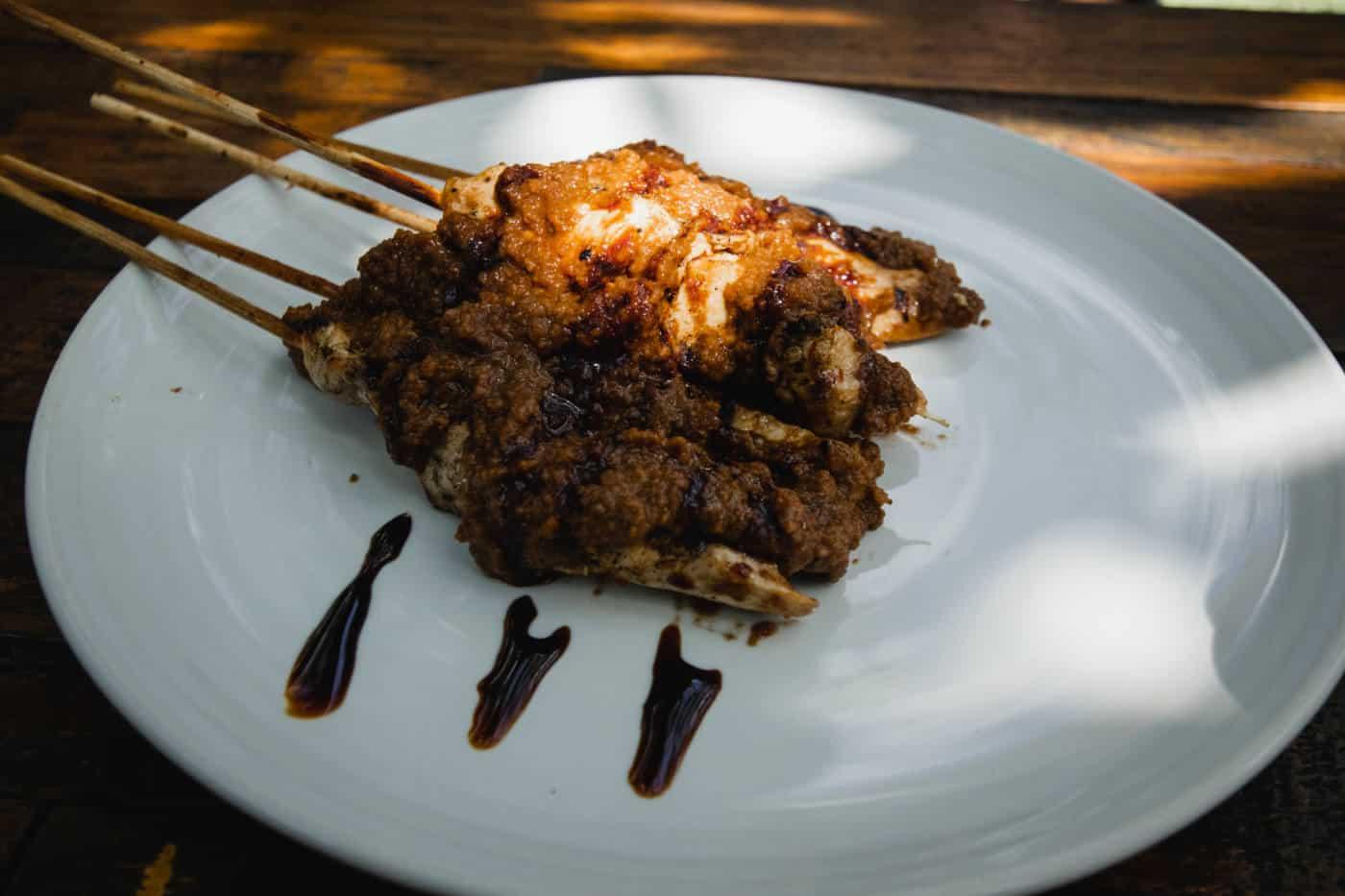 Chicken satay at Maha Restaurant in Ubud Bali