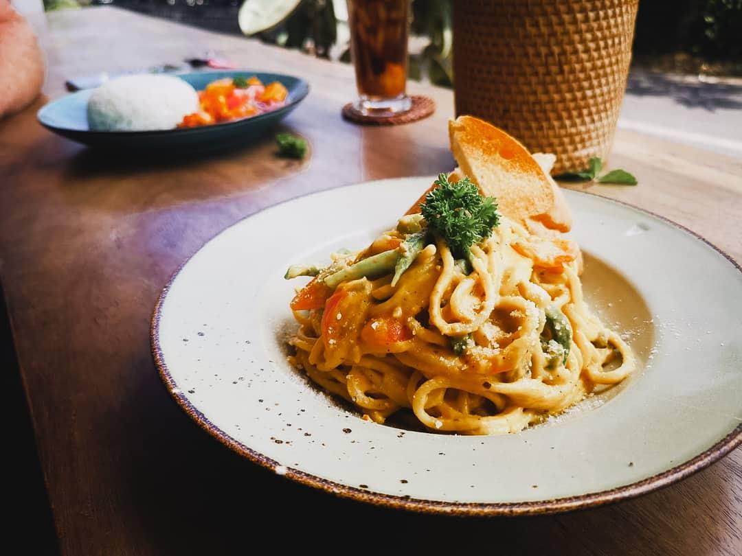 Squash spaghetti at Api Api cafe in Ubud Bali