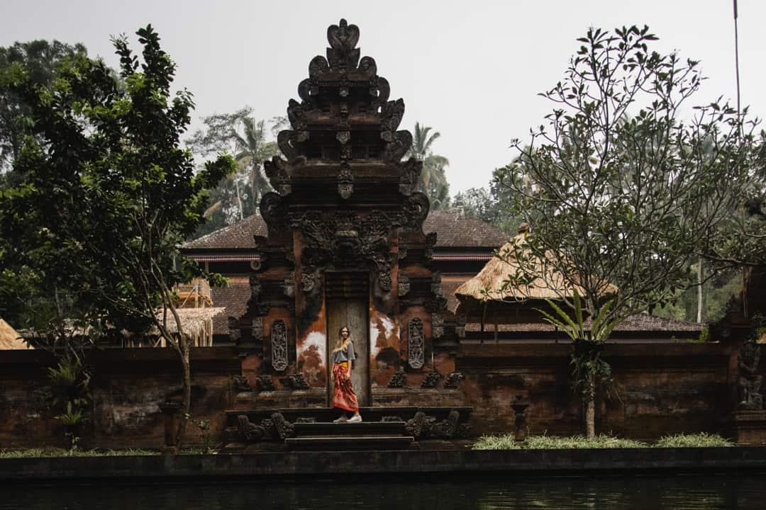 Wearing a sarong at Tirta Empul Temple in Bali
