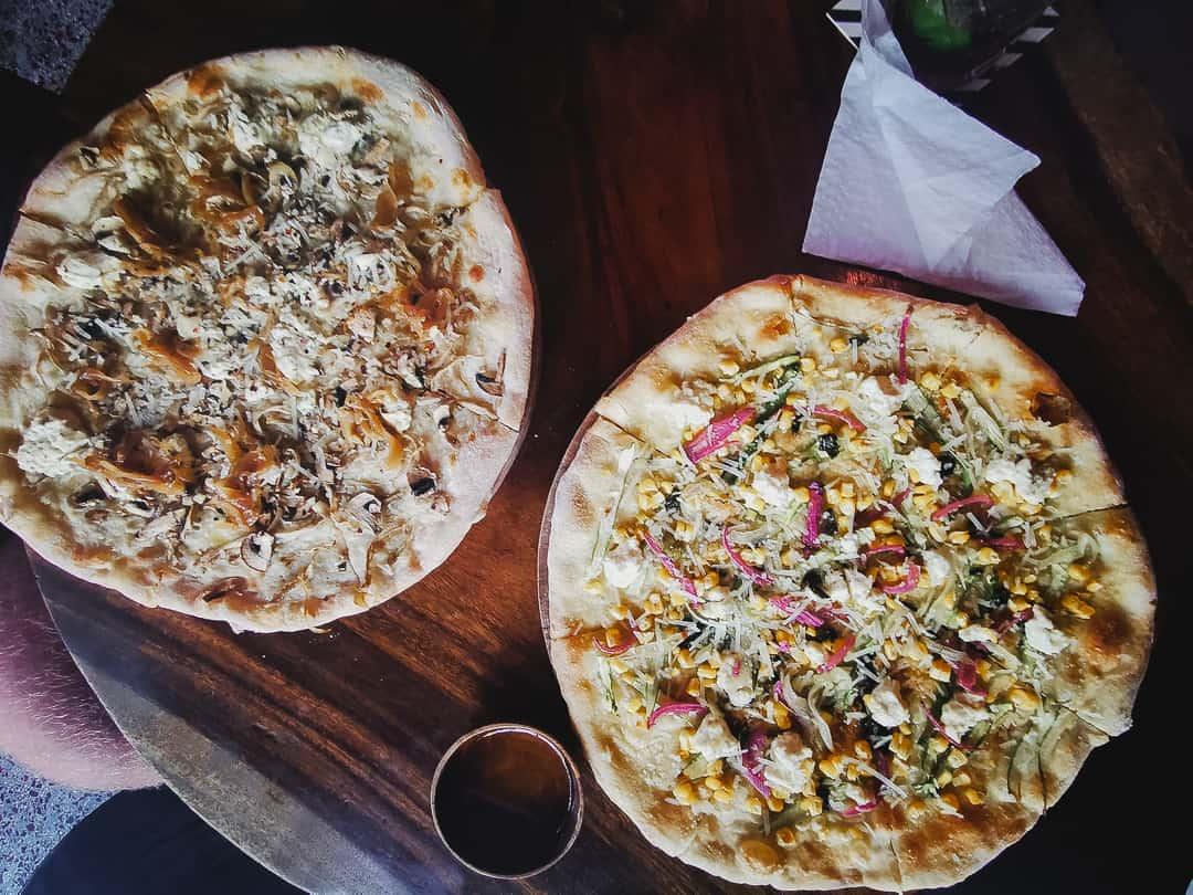 Vegan pizzas at Dumbo pizza in Ubud Bali