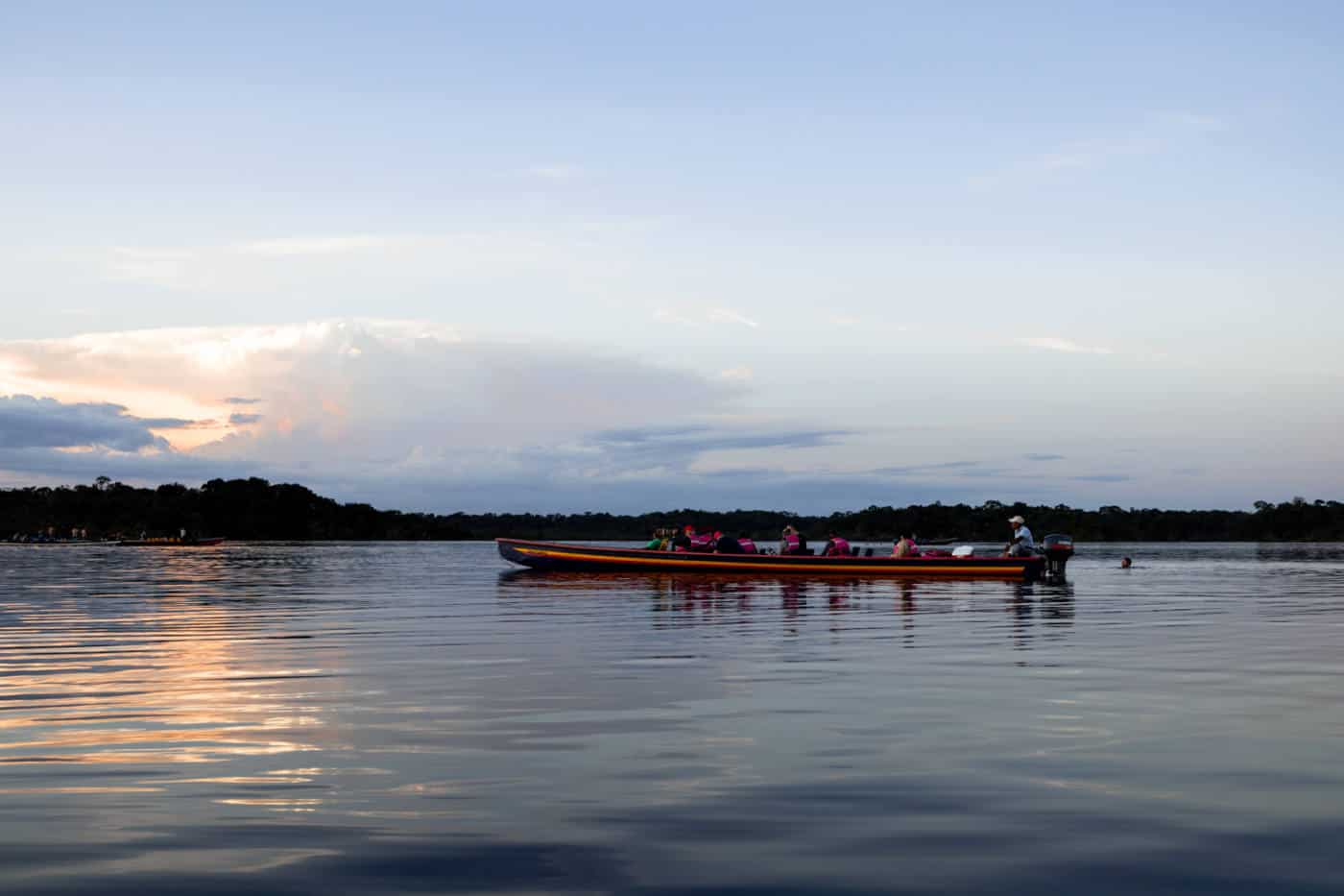 A motorised canoe tour in the Amazon Rainforest in Ecuador