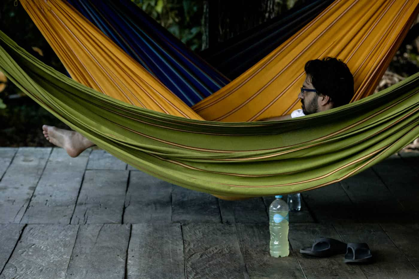 A riverside hammock at Green Forest Ecolodge in cuyabeno, Ecuador