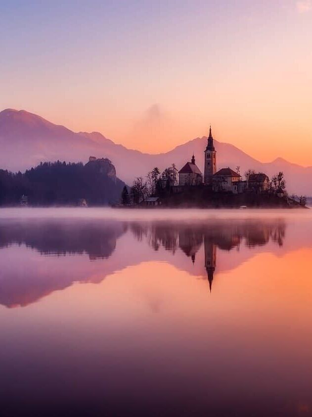Lake Bled in Slovenia at sunset