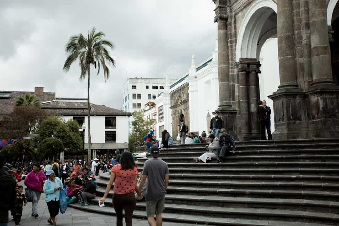 A church in the main square in Old Town Quito