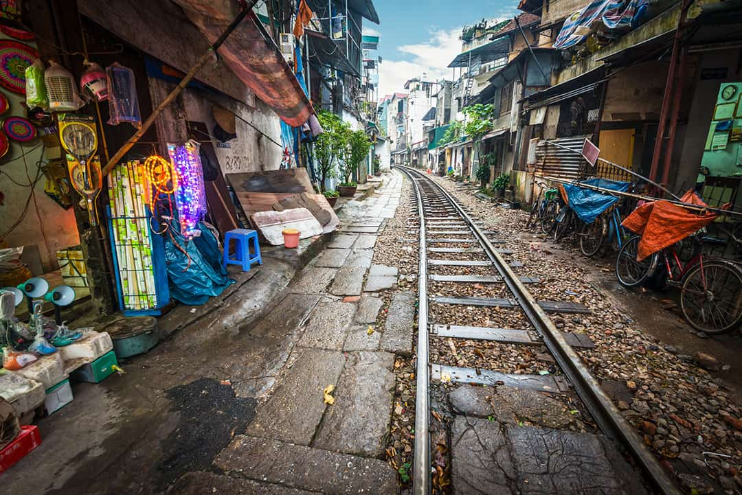 Street in Hanoi by rail track